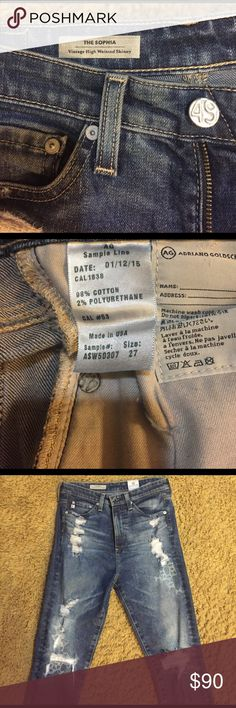AG Adriano Goldschmied Sophia SAMPLE  Skinny 26-27 One of a kind high waisted skinny jeans. AG The Sophia Vintage High Waisted Skinny Jeans tagged Size 27. ***I am normally a size 24-25, and even though this Denim contains 2% polyurethane, this style was only slightly loose on me. Probably perfect if you are normally between 25-26. Only worn once. Waist 13.5; Front Rise 11; Inseam 31; Hips 16; Leg opening 5.5. All measurements taken while laying flat. Slight stretch- 98% Cotton 2%…