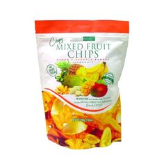These Mixed Fruit Chips are crispy, crunchy and melt-in-your-mouth! We love eating these with sweet vanilla dips, with yogurt or crunch them up in oatmeal or garnishing smoothie bowls! Tropically divine, we love these for just snacking, too! The chips included in this bag are a variety of banana, mango, pineapple and jackfruit!  NO ARTIFICIAL COLOURS OR FLAVOURS SUITABLE FOR VEGETARIANS MADE WITH LOVE Garnishing, Snack Recipes, Snacks, Mixed Fruit, Love Eat, Smoothie Bowl, Serving Size, Yogurt, Bowls