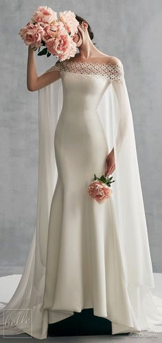 Simple Wedding Dresses Inspired by Meghan Markle | Off the shoulder Ines Di Santo wedding dress | Fitted elegant Bridal gown with cape #weddingdress