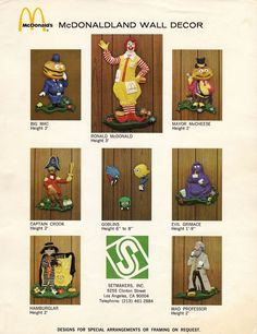 "McDonaldland Setmakers Promo Packet, Page Eleven, 1972 // Featuring 7 character-driven wall decor items, this page shows photos and descriptions for each! // In a great piece of vintage McDonalds literature, flickr user Jason (jasonliebigstuff) shares this ""Playground Equipment"" catalog/guide that was sent to McDonalds owners to promote the new concept of McDonaldland Playgrounds."