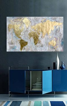 Abstract World Map Painting (MADE TO ORDER) This Gold leaf world map can be make it a conversation piece in any room. Use of neutral shades, many flicks and splatters of paints makes a perfect textural background. Map is done with gold leaf which reflect the light in a lovely way.