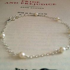 Aery.  Freshwater pearls.  Sterling silver bracelet.