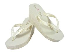 Ivory Wedges Champagne Glitter & Vegas Gold Mrs Last Name