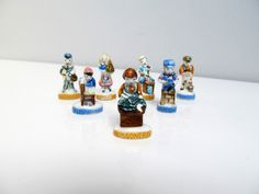 7 Feves people French Porcelain, trinket, figurines, miniature, Epiphany, Cake Charms, collectors, handpainted, fabophilie, craftsman worker by EbyVintage on Etsy
