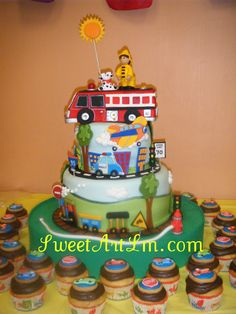 Fire Truck cake and cupcakes by www.sweetartlm.com