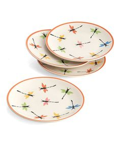 Take a look at this Dragonflies Round Dish - Set of Four by Woodard & Charles on #zulily today!