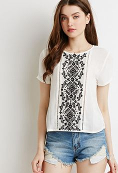 Embroidered Mesh Panel Top | Forever 21 - 2000183592