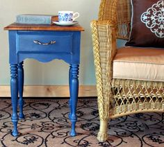 This side table was painted with Annie Sloan Chalk Paint® decorative paint by Annie Sloan in Duck Egg Blue and Napoleonic Blue | By Wildwood Creek