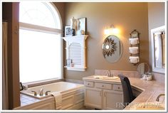 Master Bathroom Decorating Ideas  from Finding Home  I love the medicine cabinet by the bathtub and that would look great in our house.