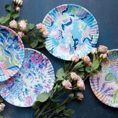 These lovely melamine plates have the look of paper, but with the sturdiness of melamine. Washed in calming blues, greens, and purples, they will enhance your o