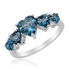Liquidation Channel: London Blue Topaz 5 Stone Ring in Platinum Overlay Sterling Silver (Nickel Free) Jewelry Box, Jewelry Rings, Topaz Jewelry, Jewellery, Pinterest Jewelry, Watch Necklace, Pretty Rings, London Blue Topaz, Stone Rings