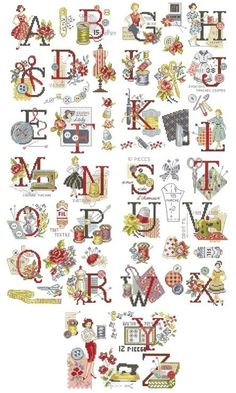 sewing alphabet (all charts on site) Cross Stitch Letters, Just Cross Stitch, Cross Stitch Samplers, Cross Stitch Flowers, Cross Stitch Charts, Cross Stitch Designs, Cross Stitching, Cross Stitch Embroidery, Embroidery Alphabet