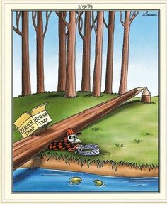 """""""The Far Side"""" by Gary Larson. Gary Larson Comics, Gary Larson Cartoons, Far Side Cartoons, Far Side Comics, Beaver Trapping, Gary Larson Far Side, Crazy Funny Pictures, Funny Pics, Funny Cartoon Memes"""