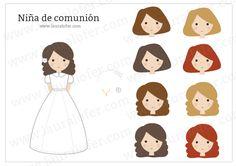 Descarga gratis este kit para recuerdos de comunión en formato vectorial con una ilustración hecha por Lauralofer de una niña vestida de primera comunión y 8 peinados diferentes para intercambiar, ...