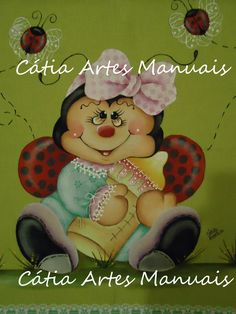 Joaninha pintada em pano de copa colorido http://www.catiaartesmanuais.com/