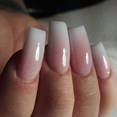 Diseños de uñas naturales - beauty and fashion ideas fashion Nails Yellow, Pink Ombre Nails, How To Ombre Nails, Cute Nails, Pretty Nails, My Nails, French Tip Acrylic Nails, Ombre French Nails, Square Acrylic Nails