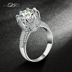 18K White Gold Plated Bijoux Fashion Wedding & Engagement Ring Made With AAA+ CZ diamond Jewelry For Women Wholesale DFR555