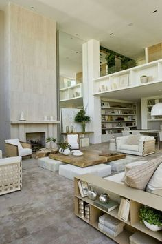 I love this stunning neutral design. Timeless and that fireplace is a simple grande house design design de casas ideas interior design Deco Design, Design Case, Moderne Lofts, Home Living Room, Living Spaces, Apartment Living, Architecture Design, Home And Deco, Interiores Design