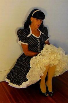 tgirl wearing square dance dress and petticoat Dance Outfits, Dance Dresses, Sexy Outfits, Cute Dresses, Beautiful Dresses, Vintage Dresses, Girl Outfits, Fifties Fashion, Tween Fashion
