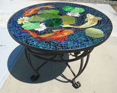 CUSTOM KOI stained glass mosaic table top or by ParadiseMosaics