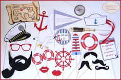 "Kit photobooth thème ""mer, marin"" / Nautical - navy - sea photobooth props"