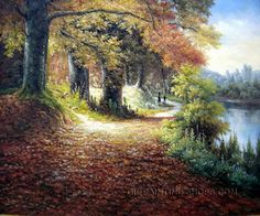 """Stretched Framed Paintings Reproduction Romantic Landscape Painting Summer, Size: 36"""" x 24"""", $104. Url: http://www.oilpaintingshops.com/stretched-framed-paintings-reproduction-romantic-landscape-painting-summer-2091.html"""