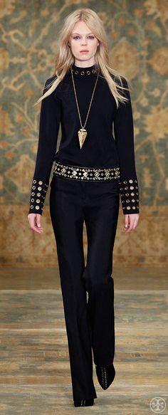 Tory Burch ~ Fall Embellished merino Turtleneck + Silk-wool mikado Pant, 2015