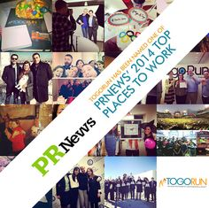 TogoRun is excited to be named one of PRNews' Top Places to Work in 2014! This award is even more special because it's not just touting our hard work, but the people and the culture that make TogoRun shine.
