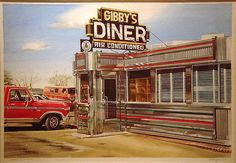 Gibby's Diner, watercolor by Ralph Goings