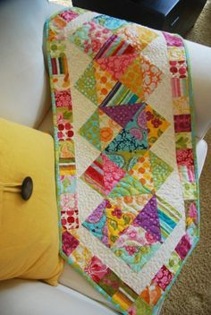 fun, scrappy table runner - I just bought a charm pack that would work great for this