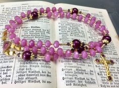 Rosary goldplated and enameled semiprecious stone and Swarovski Pearls Our Lady of Lourdes catholic prayer beads by Rosenkranz-Atelier by RosenkranzAtelier on Etsy