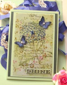 Printed a poem out on PP from K Stamped the hydrangea in the new stunning color distress ink called chipped sapphire. I also sponged the butterflies with that color too. Collage