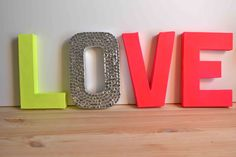 Neon Yellow & Neon Pink LOVE Letters