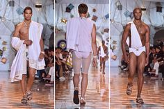 Versace, always the pinnacle of good taste, presented men wearing togas, with white mesh cycling shorts