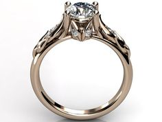 14k rose gold diamond unusual unique floral engagement ring, bridal ring, wedding ring by Jewelice, $1120.00