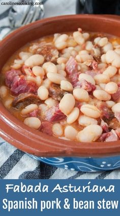 You may well have heard of cassoulet - well fabada Asturiana is it's Northern Spanish cousin. A hearty, warming white bean stew with lots of porky goodness, it's incredibly easy and perfect for a cold day. Easy Soup Recipes, Pork Recipes, Lunch Recipes, Mexican Food Recipes, Dinner Recipes, Cooking Recipes, Spanish Recipes, Yummy Recipes, Recipies