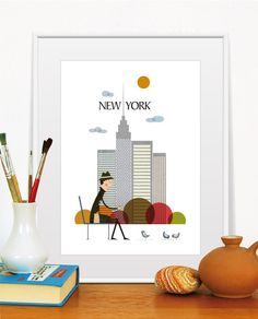 New York City Poster, Illustration of City, City Print, Cuty Wall Decor,  Size A4