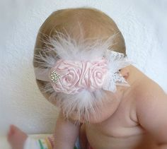 light pink bow rose rosette flower handmade boutique feathers baby girl headband
