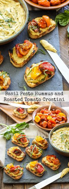 Basil Pesto Hummus and Roasted Tomato Crostini   You only need 4 ingredients to make this addicting little appetizer! #ad