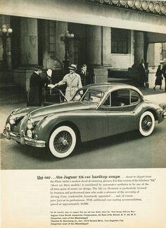 Publicité Jaguar 1956 - source Vintage Automobile Dealerships and Automobilia. Jaguar Daimler, Jaguar Xk120, Automobile, Advertising Signs, Retro Cars, Vintage Ads, Car Pictures, Motor Car, Volkswagen