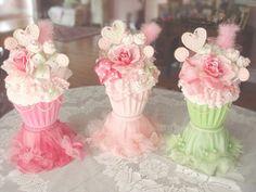 Giant Faux Shabby Cupcake Decoration Centerpiece Birthday Tea Party