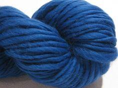 handspun yarn Blue thick and thin bulky singles merino yarn, 102 yards, merino wool top