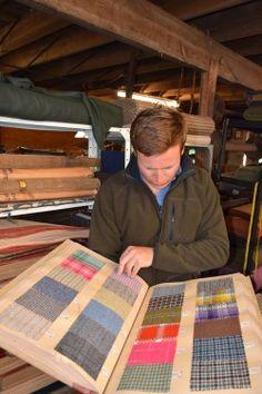John-Sugden-looking-at-pattern-books-dating-back-to-1883 Woolen Mills, Bespoke Tailoring, Tweed Fabric, Pattern Books, Dating, Quotes, Bespoke