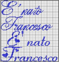 Nato Francesco Crochet Stitches Patterns, Stitch Patterns, Alice, Diy And Crafts, Cross Stitch, Shabby, Lettering, Victoria, Names