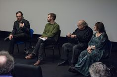 Bloomsbury Welcomes Soho: Film & Discussion Event.L-R, Thomas Hamilton,  Film Historian; Dr Scott Rodgers, Birkbeck, Department of Film, Media and Cultural Studies.     - Leslie Hardcastle, OBE; a prominent  Soho & UK national figure, Angela English Research Officer , London Screen Study Collection, LSSC.