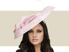 This handblocked sidebrim dusky pink hat features sinamay and a flower trim  and crin. See this hat and purchase it here today at Gold Coa… 8c7d93a2089b