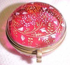 Cranberry Glass Patch Box Dresser Jar - Glass