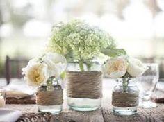 mason jars wrapped with twine