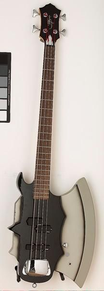 "Details on the guitar or bass picture. This is the AXE bass designed by Gene Simmons of KISS. I wonder what the ""SHAMELESS PROMOTER"" bass would look like?"