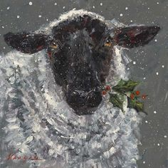 animal art projects - Trademark Fine Art 'Wren The Christmas Sheep' Canvas Art by Mary Miller Veazie Sheep Paintings, Animal Paintings, Animal Drawings, Artist Canvas, Canvas Art, Sheep Art, Christmas Paintings, Christmas Art Projects, Christmas Artwork